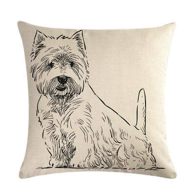 West Highland Terrier  Dog Drawing  Cushion Cover New  • 5.99£
