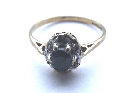 Pretty 9ct Gold Sapphire And Diamond Ring Size M • 49£