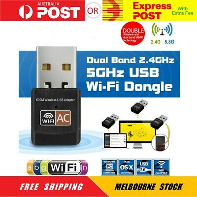 AU15.95 • Buy Dual Band 600Mbps USB WiFi Wireless Dongle AC600 Lan Network Adapter 2.4GHz 5GHz