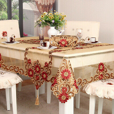 AU10.82 • Buy Vintage Embroidered Lace Tablecloth Dining Table Runner Cover Wedding Home Decor