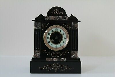EXCEPTIONAL FRENCH SLATE & MARBLE MANTEL CLOCK C1870 • 345£