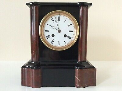 An Elegant French Black Slate & Marble Mantel Clock C1880s • 325£