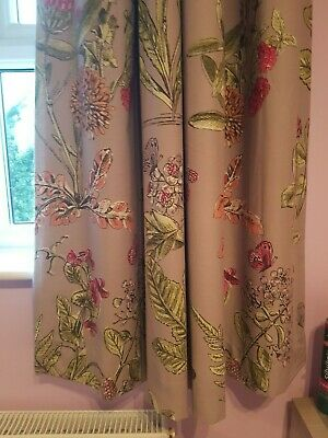 Next Curtains Purple Floral 135cm X 137cm Fully Lined • 25£