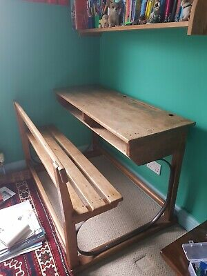 Beautiful Vintage Double School Desk With Bench • 120£