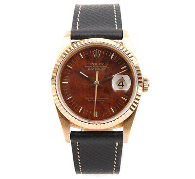 $ CDN20349.23 • Buy Vintage Rolex Datejust 16238 18k Yellow Gold Burl Wood Dial 36mm Auto Mens Watch