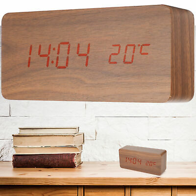 Digital Alarm Clock Bedside LED Smart Electronic Sound Control Wood Grain USB • 10.72£