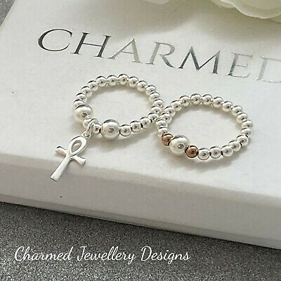 Sterling Silver Stretch Ring Duo X2 CROSS CHARM  Beaded Rings 925 Ladies Gifts • 12£