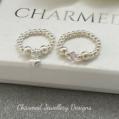 Sterling Silver Stretch Ring Duo X2 Heart Charm Beaded Rings 925 Ladies Gifts • 12£