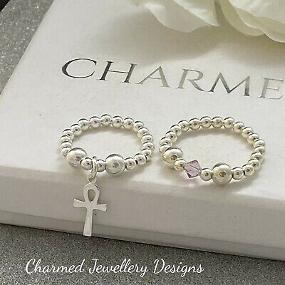 Sterling Silver Stretch Ring Duo X2 Heart Cross Beaded Rings 925 Ladies Gifts • 12£