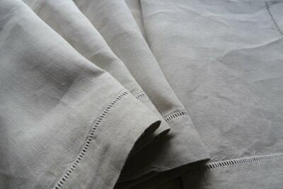 Simple Unused French Linen Sheet Great Tablecloth, Upholstery Or Curtain Fabric • 69£