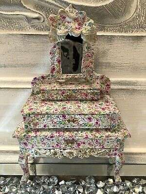 Dolls House Floral Dressing Table 1/12 Scale, • 25.99£
