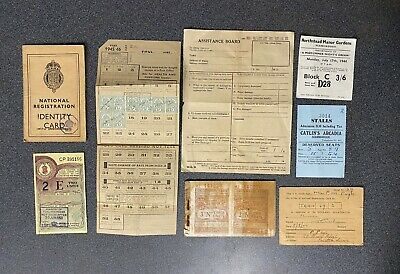 Ww2 Home Front Ephemera Lot X8  Pension Ins, Show Tickets,i.d.card, Coupons • 19.99£