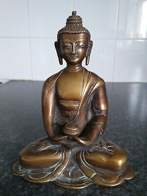 Antique Gilded Bronze Buddha Figurine Sitting On Lotus Leaf And Holding Censer • 31.99£