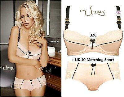 Ultimo 'Madison' Blush Pink Triple Gel Padded Push-up Bra Set: 32C & 10 Short • 32£