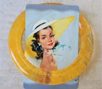 AU30 • Buy **Zsiska Hand Crafted Yellow & Clear Resin Bangle- 6.6cm Inner Diameter