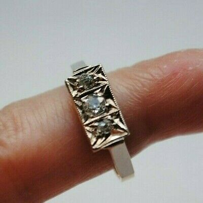 Antique Art Deco 18ct Gold And 3 Diamond Ring Size G • 135£