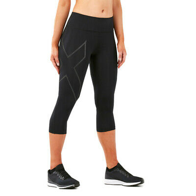 2XU Womens Run Mid Rise 3/4 Compression Tight Black Sports Running Breathable • 63.74£