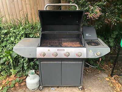 AU50 • Buy 4 Burner BBQ With Stove And Hood On Wheels With Cover And Gas Bottle.