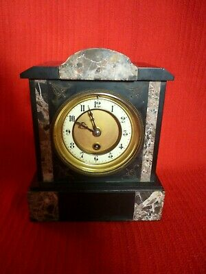 Antique Victorian Slate And Marble Mantel Clock. • 95£