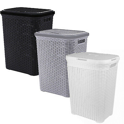 Laundry Basket Washing Clothes Storage Hamper Rattan Style Plastic Basket Large • 15.95£