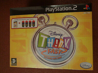 Playstation 2 Disney Think Fast The Family Quiz Game + Buzz Buzzers - Sony - New • 45£