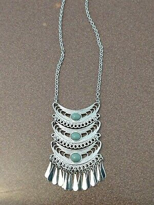 $ CDN10.76 • Buy Lia Sophia Long Silver Necklace With Unique Design And Blue Stones, Beautiful