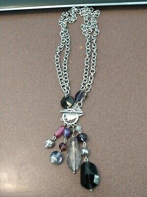 $ CDN11.38 • Buy Lia Sophia Silver Toggle Necklace With Purple, Black & Gray Beads, Long Or Short