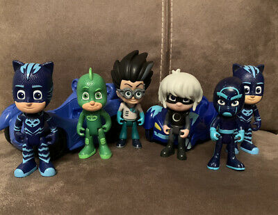 PJ Masks Figure Bundle Cars - Night Ninja - Romeo - Gekko - Catboy • 11.99£