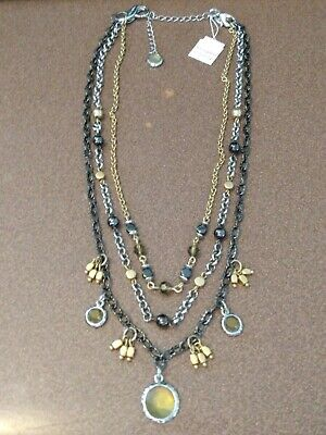 $ CDN10.76 • Buy Lia Sophia Silver, Gold & Gunmetal Chains And Beads With Brown Stones Necklace