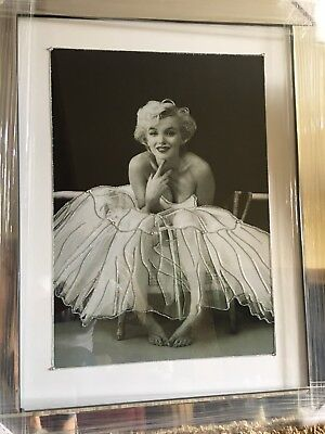 Marilyn Monroe Picture Sitting /crystals /liquid Art & Mirror Frame 96 X76 Cm • 159.99£