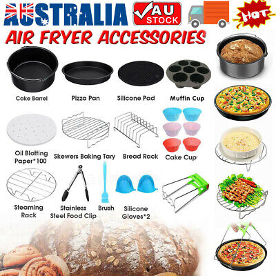 AU28.39 • Buy 8 Inch Air Fryer Frying Cage Dish Baking Pan Rack Pizza Tray Pot Accessories AU