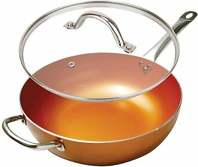 $42.95 • Buy Copper 12'' Round Ceramic Coated Non-Stick Chefs Wok Frying Pan With Lid 5 Qt