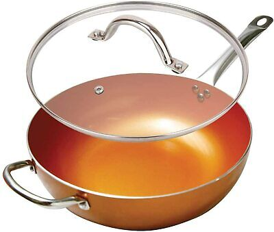$43.95 • Buy Copper 12'' Round Ceramic Coated Non-Stick Chefs Wok Frying Pan With Lid 5 Qt