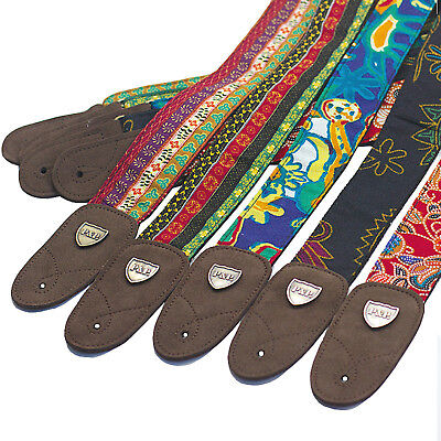 $ CDN15.81 • Buy Guitar Strap Embroidery Jacquard Woven Retro Embroidery Genuine Leather Ends