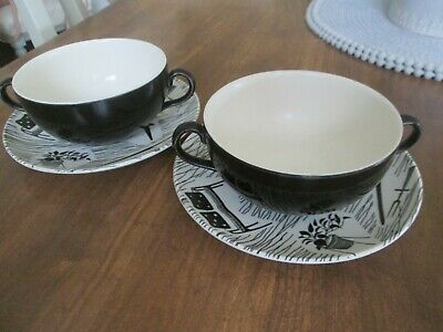 Rare Homemaker Ridgway Potteries Two Handled Soup Bowls With Matching Plates • 46£