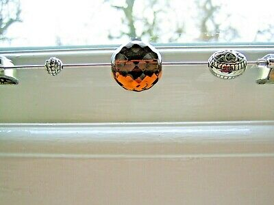 Amber Bead Antique Silver Hat Pin  • 5.99£