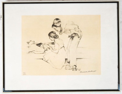 "$ CDN1141.93 • Buy NORMAN ROCKWELL ""SAFE AND SOUND"" LITHOGRAPH Hand Signed And Numbered With COA"
