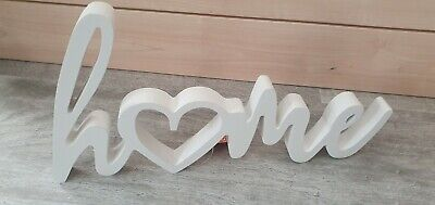 Wooden 'home' White Painted Free Standing Sign Plaque Ornament New • 6.99£