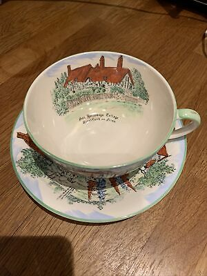 Old England Crown Devon Fieldings Ann Hathaway Cottage. China Cup And Saucer. • 10£