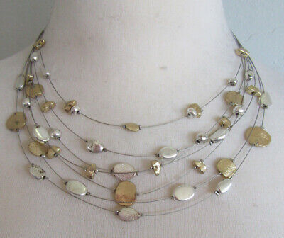 $ CDN0.34 • Buy Lia Sophia Jewelry Skipping Stones Necklace In Silver And Gold RV$68