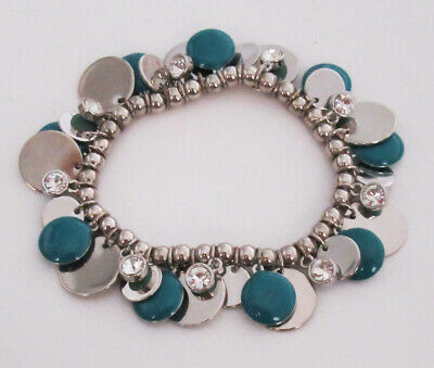 $ CDN0.76 • Buy Lia Sophia Jewelry Cut Crystals Jamboree Blue Stretch Bracelet In Silver RV$58