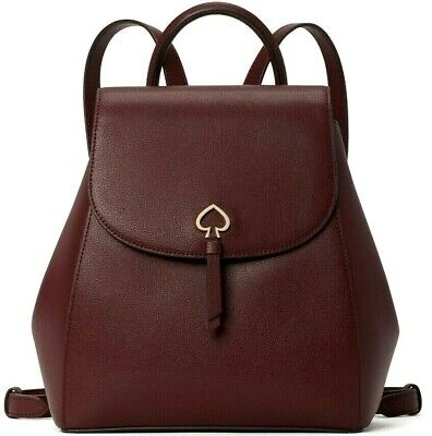 $ CDN146.72 • Buy Kate Spade Adel Burgundy Leather Medium Flap Backpack WKRU6412 NWT $299 MSRP FS