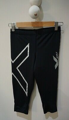 AU20 • Buy 2XU Cropped Black/Silver Compression Tights - Size S