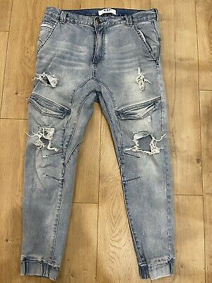 AU59 • Buy Nena And Pasadena NXP Mens Distressed Blue Chino Jeans Size 36