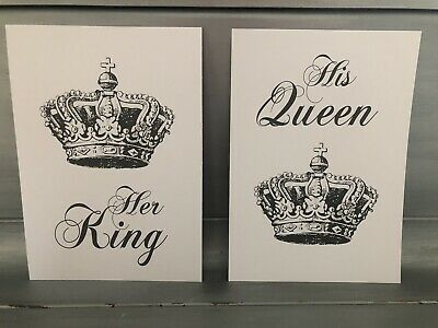 His & Hers Wall Art Print SET OF 2 Typography Prints KING QUEEN Home Picture A4 • 4.99£