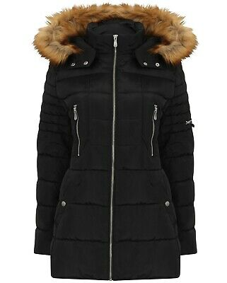 Womens Ladies Padded Fur Hood Warm Winter Coat Parka Puffer Quilted Size 10-24 • 32.99£