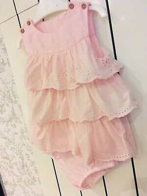 Baby Girl Pink Frill Romper Summer 9-12mths Perfect Condition! • 0.99£