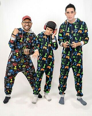 £10.99 • Buy New Mens Boys Family Gaming Pyjamas Father Son Gamer Jumpsuit All In One 1Onesie