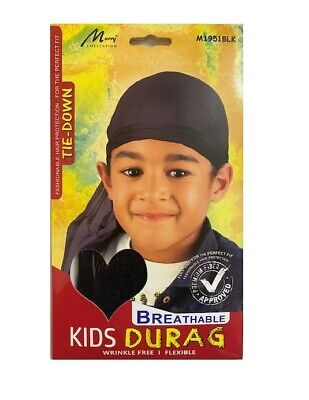 Murry Fashionable Tie-Down Breathable Kids Durag Wrinkle Free Expandible M1951BK • 1.97£