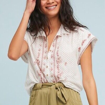 $ CDN30.51 • Buy Anthropologie Maeve White Floral Embroidered Dot Tunic Top Size M Medium